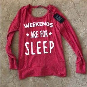 """NWT Chaser """"weekend are for sleep"""" Pullover"""
